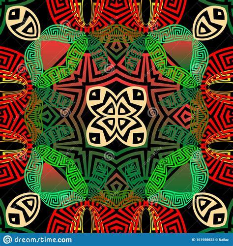 Beautiful Colorful Greek Vector Seamless Pattern Tribal