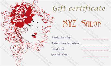artistic salon gift certificate template