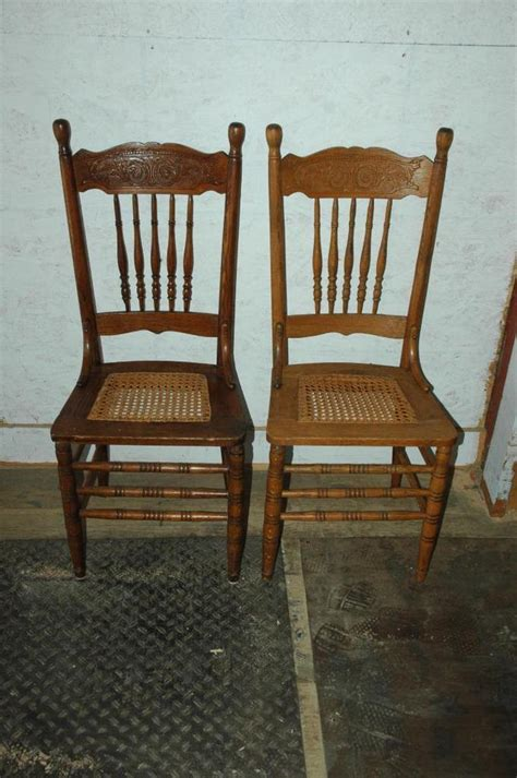 2 antique oak pressed back seat dining room side