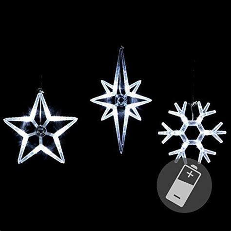 Weihnachtsdeko Fenster Led Batterie by 3er Set Fensterbilder Led Polarstern Schneeflocke