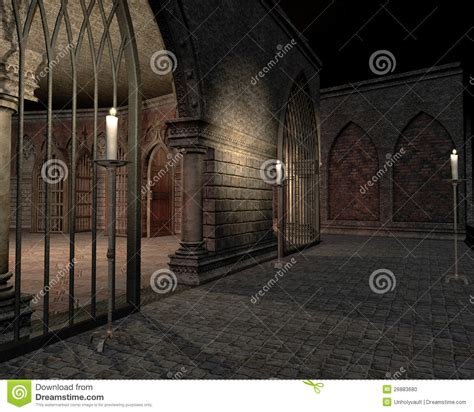 castle dungeon  candles stock illustration