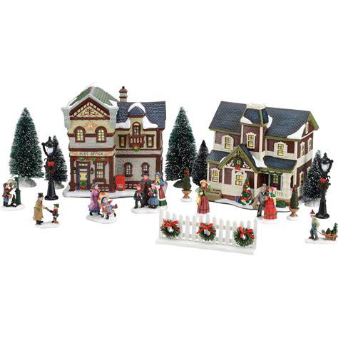 holiday time  piece christmas village set walmartcom