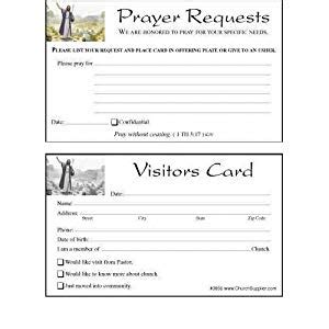 church visitor card template church visitor s card and prayer request cards bookmarks 100 cards church