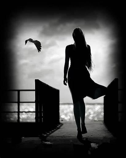 Silhouette Woman Night Kata Gifs Menghadapi Animation