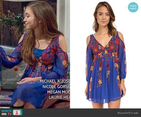 D00151 Sabrina Flow Dress s blue floral cold shoulder dress on meets