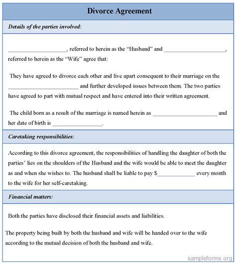 divorce agreement template divorce agreement form sle forms