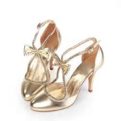 wedding reception shoes sparkling toe mid heel rhinestone bow gold wedding shoes flowerweddingshoes