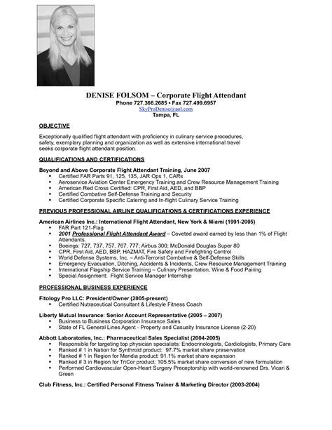 Resume Sle For Flight Attendant by Flight Attendant Resume Available Sales Attendant