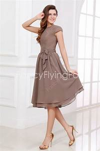 elegant brown chiffon cap sleeves jewel neckline a line With tea length dresses for wedding guest