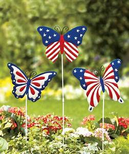Solar Accent Lighting Butterfly Set Of 3 Americana Butterfly Garden Stake Patriotic Decor
