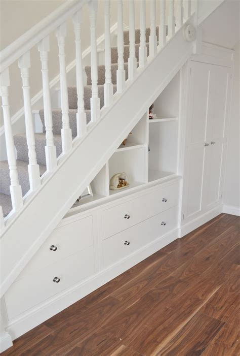 All you need for an under stairs bar is a countertop for mixing and serving drinks, cabinet space for storing spirits, and a mini fridge. Fitted Furniture Under-Stair Storage - Deanery Furniture