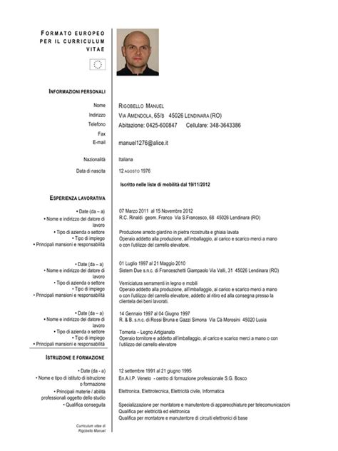 Curriculum Vitae Excel Formato Europeo by Curriculum Vitae Europeo In Pdf Gratis Newhairstylesformen2014