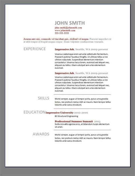 Creative Word Resume Template Free by Resume Template Builder Word Free Cv Form