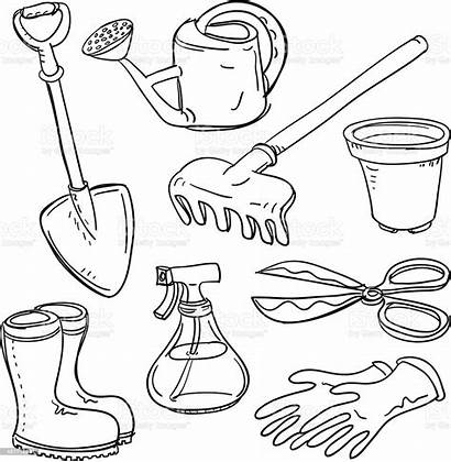 Tools Gardening Collage Vector Drawing Farming Different