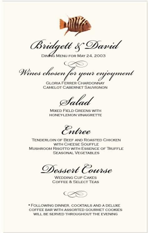 tropical fish wedding menu cards tropical fish