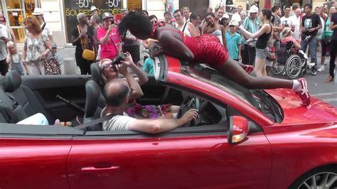 hot girl  british tourists car volvo cabrio