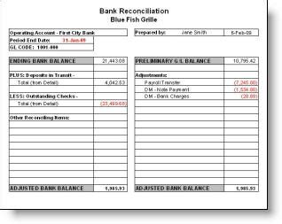 bank reconciliation statement   template