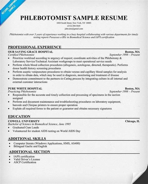 brilliant certified phlebotomy technician resume sle