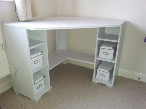 Ikea Desk Tops Uk by White Corner Desk Ikea Borgjso Ebay