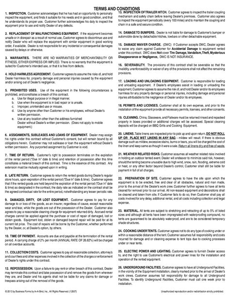 contract terms  conditions wards equipment rental