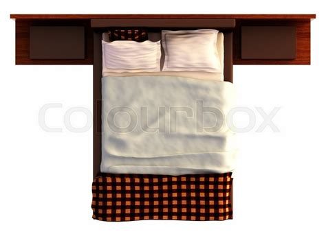 size bed and box top view of a bed with a blanket and a pillow isolated on