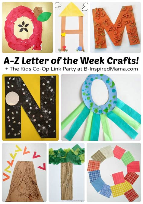 a to z letter of the week crafts for preschoolers 446 | Letter of the Week Crafts From A to Z The Weekly Kids Co Op Link Party at B Inspired Mama