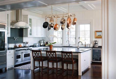 Island Pot Rack   Traditional   kitchen   New England Home