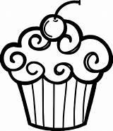 Coloring Cupcake Cupcakes Drawing Clipart Bib sketch template