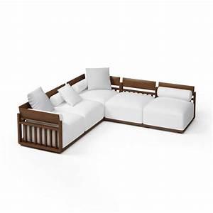 wood frame sectional sofa 3d model obj cgtradercom With sectional sofa 3d model