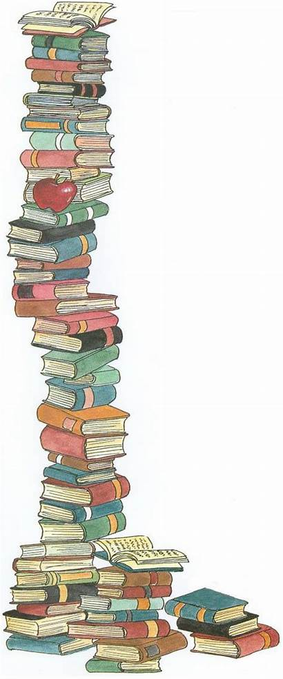 Books Stack Clipart Clip Cartoon Library Childrens