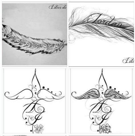 plumes prenoms ailes  initiales pour tattoo discret