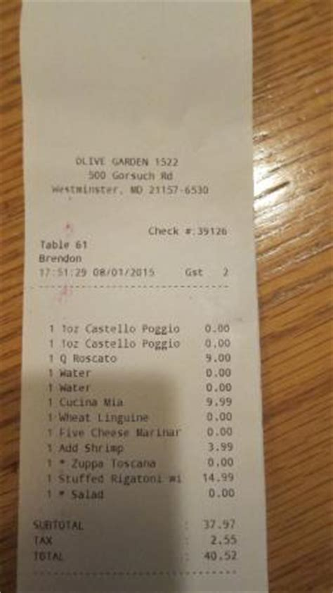 olive garden westminster co electronic receipt picture of olive garden westminster