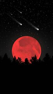 Beautiful, Red, Moon, Wallpaper, Background, With, Black, Sky