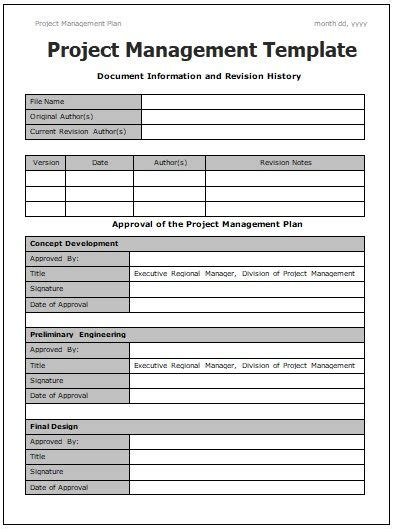 Project Management Manual Template by Project Management Templates 4 Printable Word And Pdf