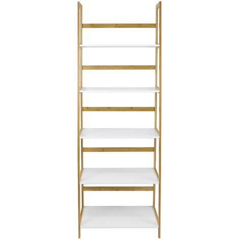 Hartleys White Bamboo 5 Tier Tall Bookcase Shelves