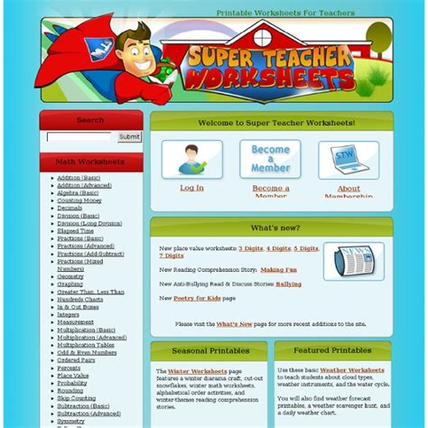 super teacher worksheets pearltrees