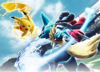 Lucario Mega Pikachu Tournament Pokken Wallpapers Background