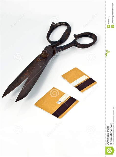 scissors  cut credit card stock photography image