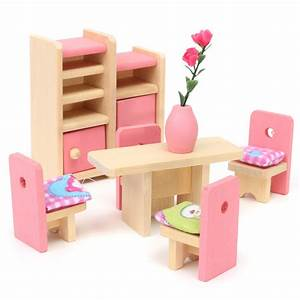 wooden doll set children toys miniature house family With pictures of house wooden furnitures
