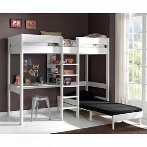 Dressing 2 Personnes : lit mezzanine avec fauteuil pino blanc ~ Melissatoandfro.com Idées de Décoration