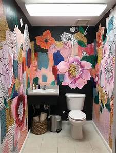 Bathroom, Floral, Mural, Painting, In, 2020