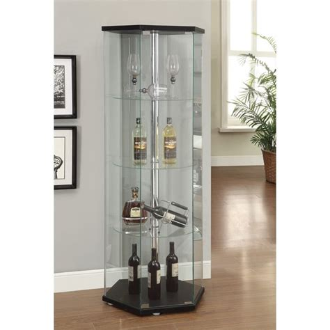 coaster home furnishings curio cabinet black coaster hexagon glass curio cabinet in black 950276