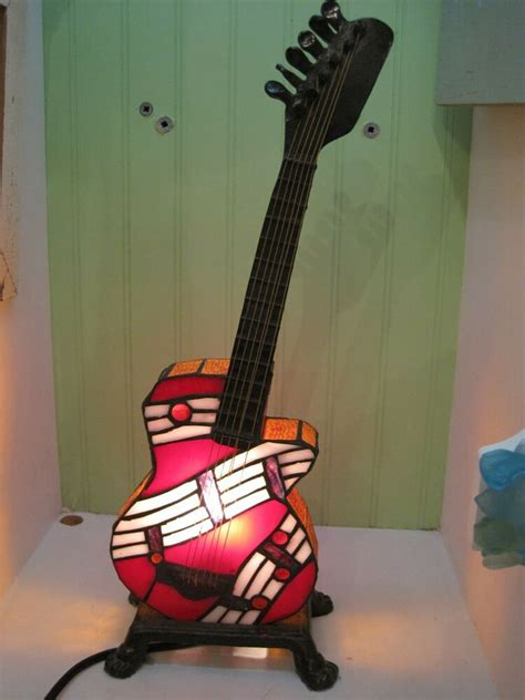 electric stained glass guitar guitar nightlight red