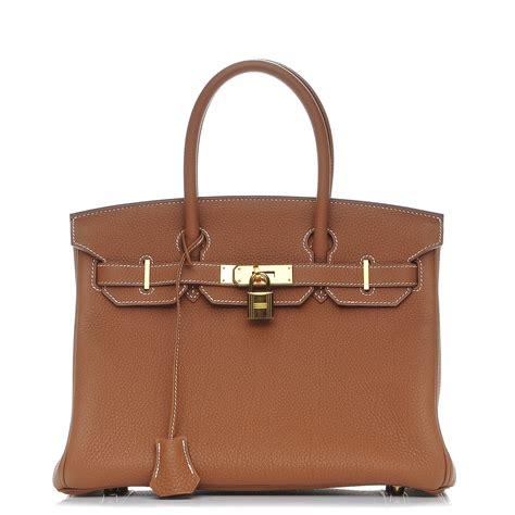 accroche sac a de luxe hermes togo birkin 30 gold 207539