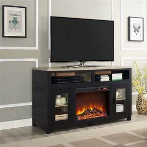 electric fireplace tv stand in black 1774196com With home entertainment fireplace living room furniture