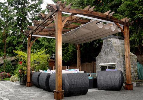pergola retractable canopy kit pergola with roof 10 x12 arched pergola with retractable canopy outdoor living today