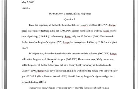 hw the outsiders chapter 2 essay responses cut