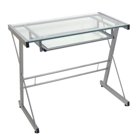 small glass and metal computer desk silver glass computer desk sears