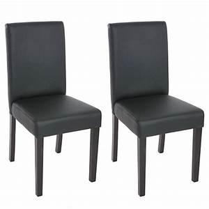 2 chaises de salle a manger similicuir noir mat achat With salle À manger contemporaineavec chaise noir pied bois