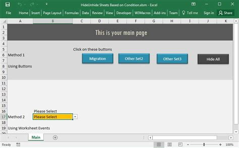 vba hide unhide worksheets excel macro code